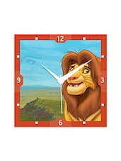 Multicolor Engineered Wood Lion King Wall Clock - By