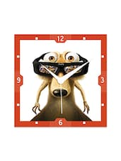 Multicolor Engineered Wood Scrat Wearing 3D Glasses Wall Clock - By