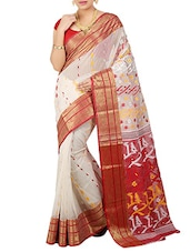 White Silk Blend Woven Saree -  online shopping for Sarees