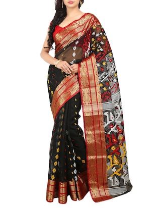Black Silk Blend Woven Saree -  online shopping for Sarees