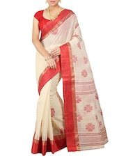 Beige Silk Blend Woven Saree -  online shopping for Sarees