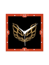 Multicolor Engineered Wood Black And Yellow Eagle Wall Clock - By