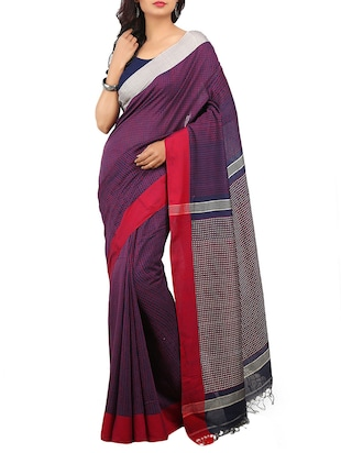 Purple Cotton Handloom Saree -  online shopping for Sarees