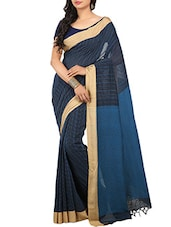 Blue Cotton Handloom Saree -  online shopping for Sarees