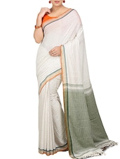 White Bengali Khadi Handloom Saree -  online shopping for Sarees