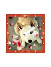 Multicolor Engineered Wood Lovely Doggy Wall Clock - By