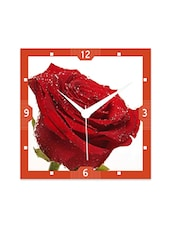 Multicolor Engineered Wood Red Rose Wall Clock - By