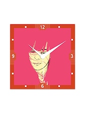 Multicolour Engineered Wood Girl With Pink Pattern Wall Clock - By
