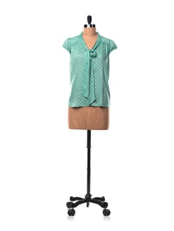 Green Polka Dot Top With Tie Up Detail - Chemistry