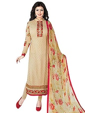 brown georgette straight semistitched suit -  online shopping for Semi-Stitched Suits