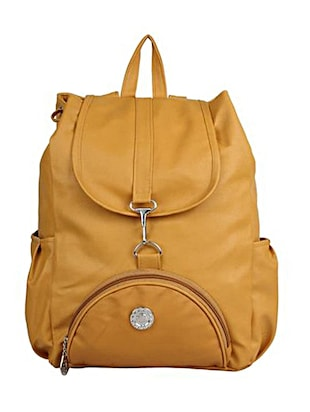 Mustard yellow leatherette backpack -  online shopping for backpacks