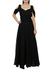 solid black georgette maxi dress -  online shopping for Dresses