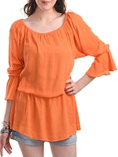 orange rayon tunic -  online shopping for Tunics