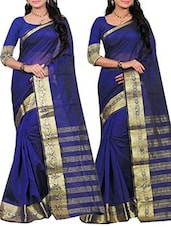 blue silk woven saree set of 2 -  online shopping for Sarees