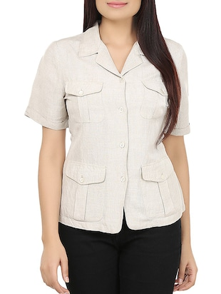 beige linen regular shirt