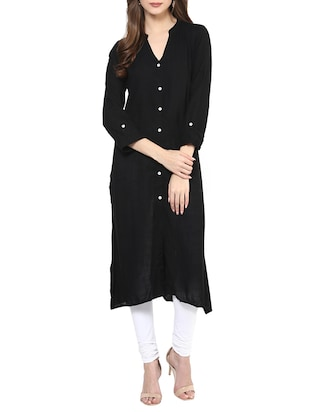 black cotton plain long kurta