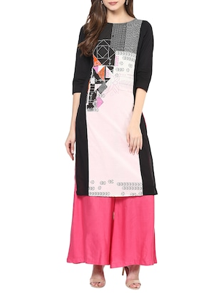black and white cotton printed straight kurta