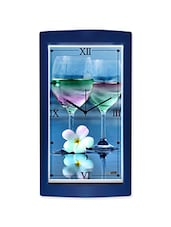 Wine Glasses And Flower Detailed Wall Clock - By