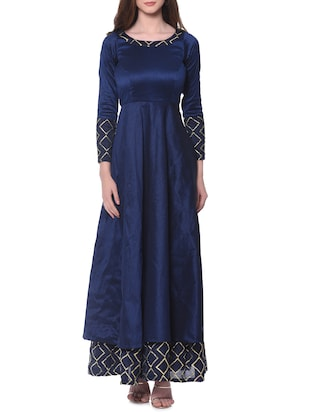 Navy blue silk blend maxi dress -  online shopping for gowns