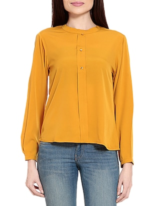 orange crepe top -  online shopping for Tops