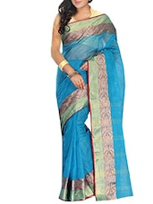 Blue Cotton bordered Saree -  online shopping for Sarees