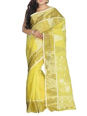 Yellow Cotton Handwoven tangail Saree -  online shopping for Sarees