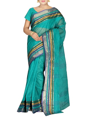 Blue Cotton Handwoven Tangail Saree -  online shopping for Sarees