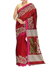 Maroon silk blend tant Saree -  online shopping for Sarees
