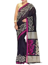 Black Silk blend tant Saree -  online shopping for Sarees