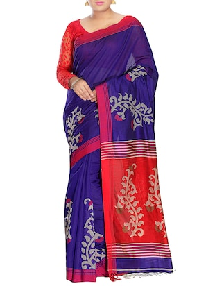 Blue Silk blend tant Saree -  online shopping for Sarees