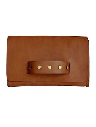 Tan genuine leather embellished clutch