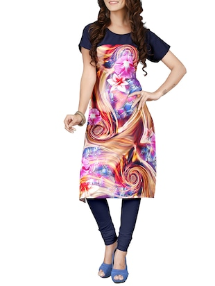 Multicolored crepe straight kurta -  online shopping for kurtas