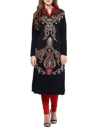 black wool woolen kurta