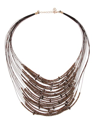 multi metal short necklace -  online shopping for Necklaces