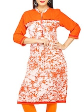 white and Orange cotton straight kurti -  online shopping for kurtis