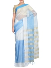 White And Blue Art Silk And Viscose Saree - By