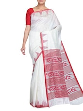 White Tone China , Matka And Geecha Silk Saree - By