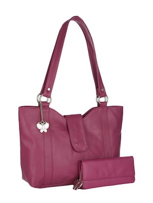 pink leatherette handbag and clutch combo
