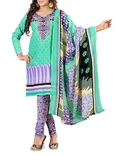 Blue Printed Poly Cotton Unstitched Suit Set - By
