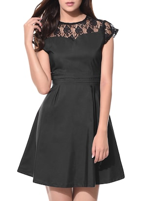 solid black crepe laced dress
