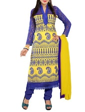 Embroidered Blue And Yellow Cotton Semi-stitched Suit Set - By