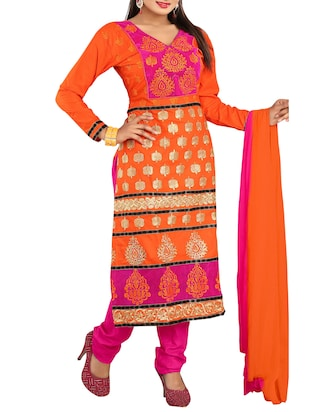 Embroidered Orange Cotton Semi-stitched Dress Material