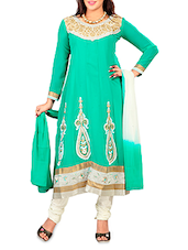 Green Chiffon Embroidered Unstitched Suit Piece - By