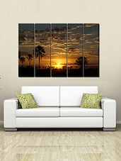 Printed Wooden Multiple Frame Printed Sun Set Art Panels Like Painting - 5 Frames - By
