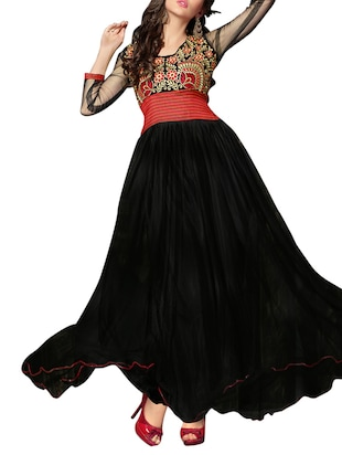 Embroidered Black Net and Georgette Semi-Stitched Dress Material