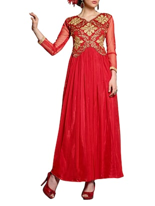 Embroidered Red Net and Georgette Semi-Stitched Dress Material