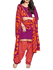 Purple Poly Cotton Embroidered Unstitched Suit Piece - By