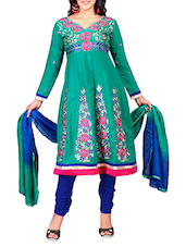 Green Embroidered Chanderi Cotton Semi Stitched Suit - By