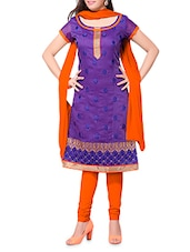 Purple Embroidered Chanderi Cotton Semi Stitched Suit - By