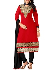 Red Embroidered Chanderi Cotton Semi Stitched Suit - By